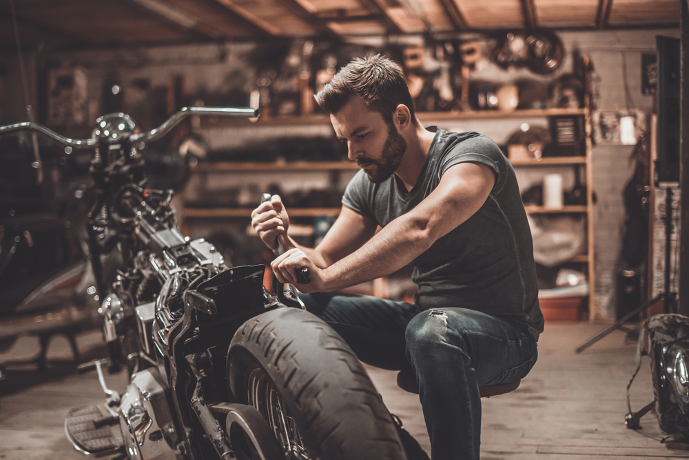 Man working on a motocycle